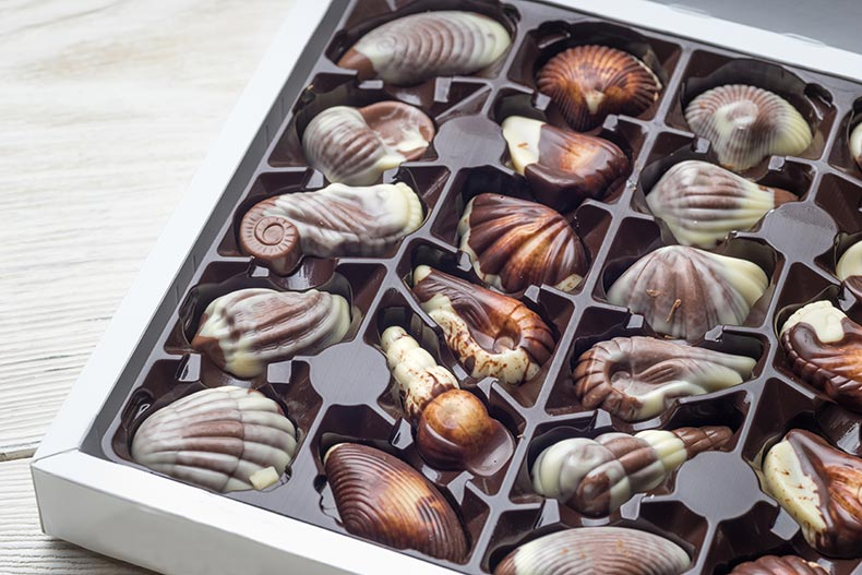 Vacuum formed gift box insert for shell shaped chocolates