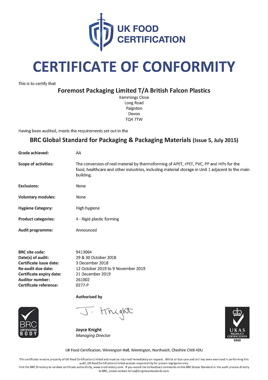 Certificate of conformity to BRC Global Standard for Packaging and Packaging Materials