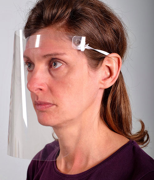 Woman wearing VisorProtect Face Shield