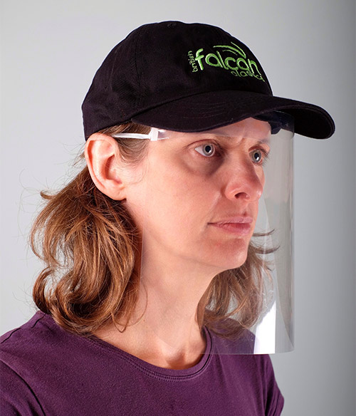 Woman wearing a VisorProtect face visor and British Falcon Plastics hat