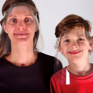 Woman and child wearing VisorProtect face shields