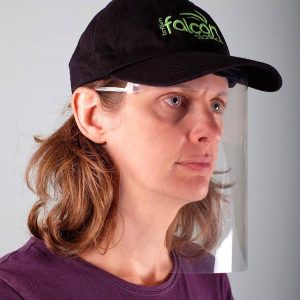 Woman wearing a VisorProtect face visor and British Falcon Plastics hat